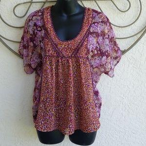 Women's sheer summer shirt top blouse small